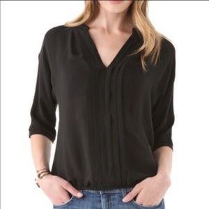 Joie Black 100% Silk V Neck 3/4 Sleeve Blouse